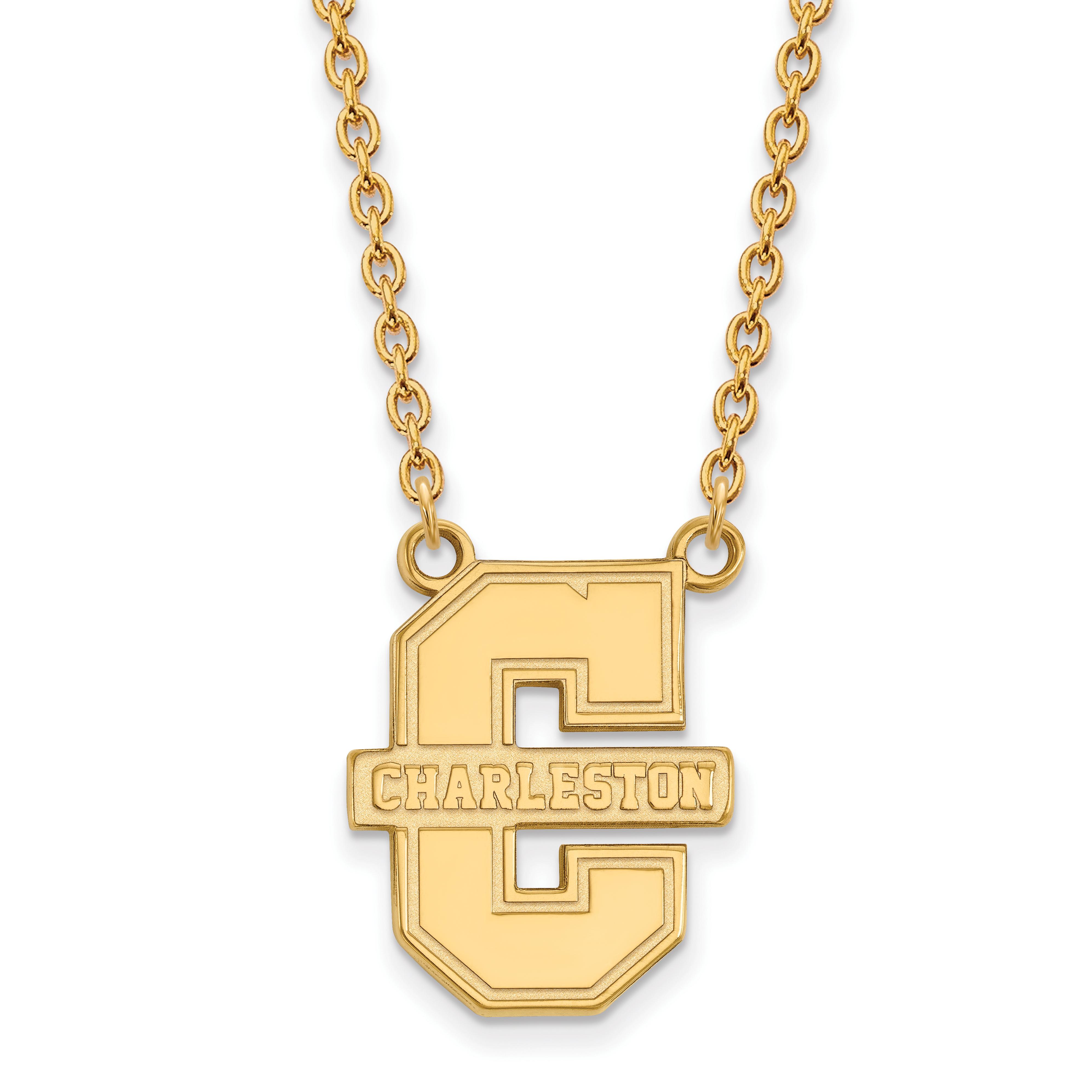 10ky LogoArt College of Charleston Large Pendant w/Necklace
