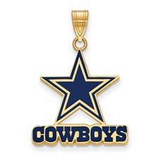 Nfl logoart dallas cowboys gold plated small enamel pendant aloadofball Images
