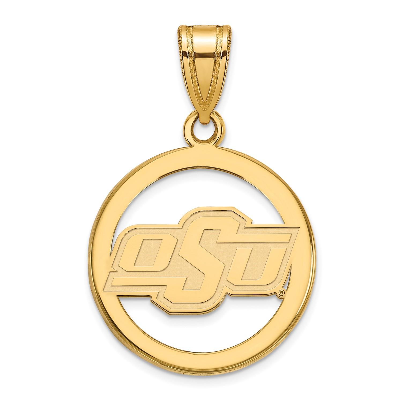 SS w Yellow GP LogoArt Oklahoma State University (OSU) Small Pendant in Circle