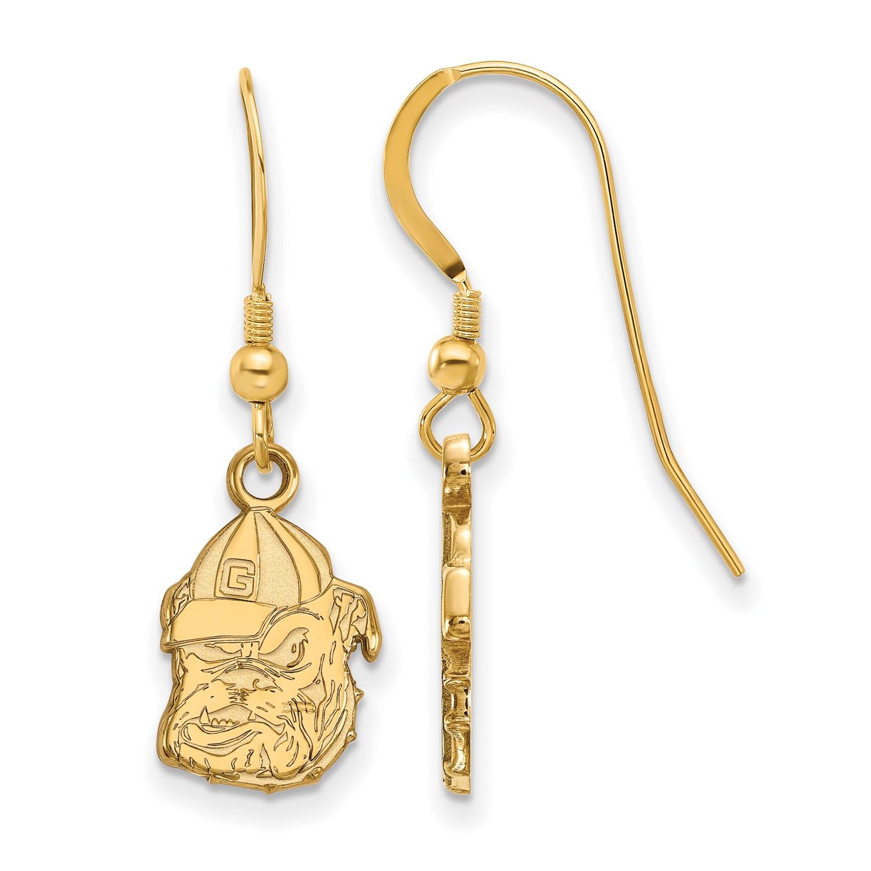 SS w  Yellow gold -Plated University of Georgia (UG) Small Dangle Earrings