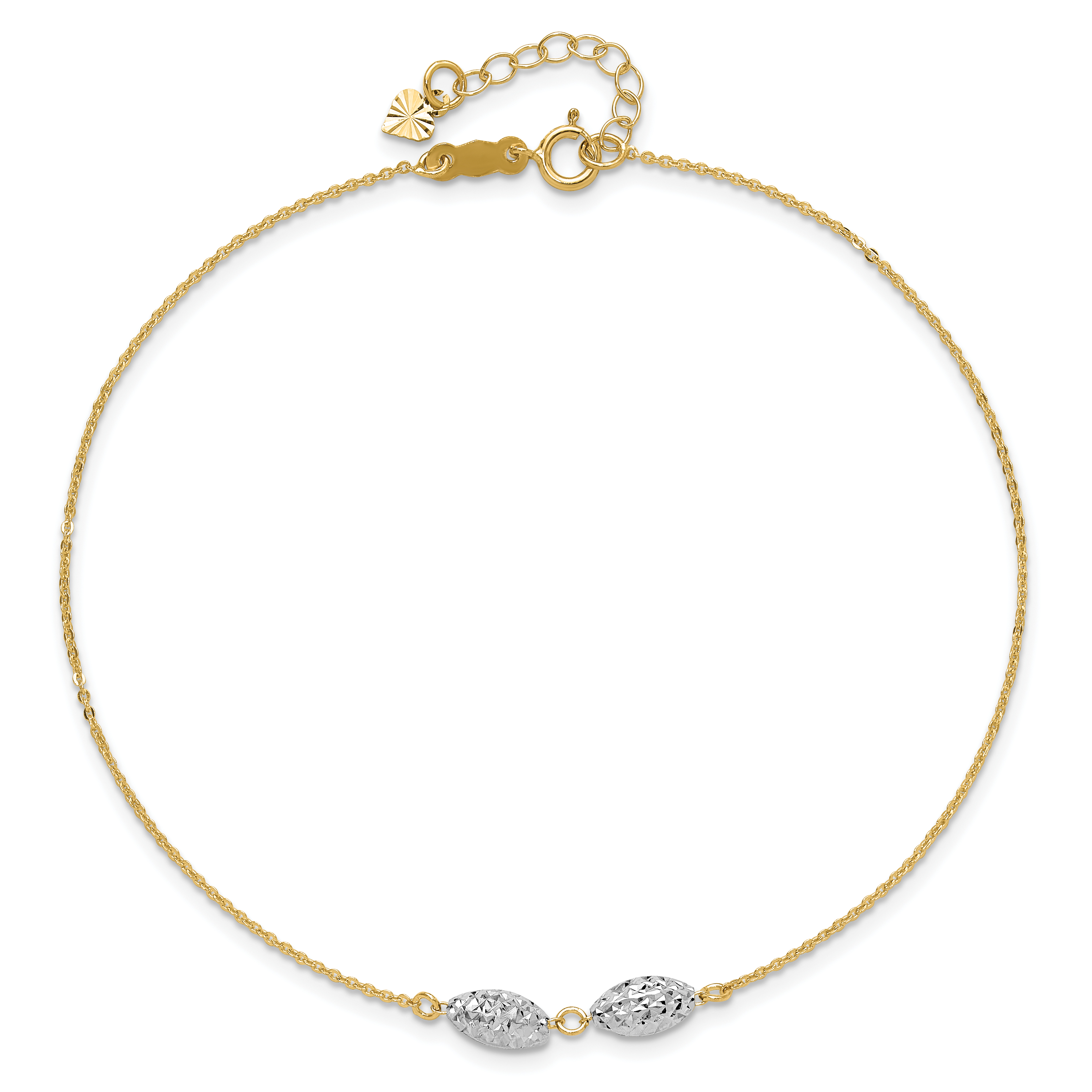 Core Gold 14k Two-tone Puff Heart 9in with 1in ext Anklet