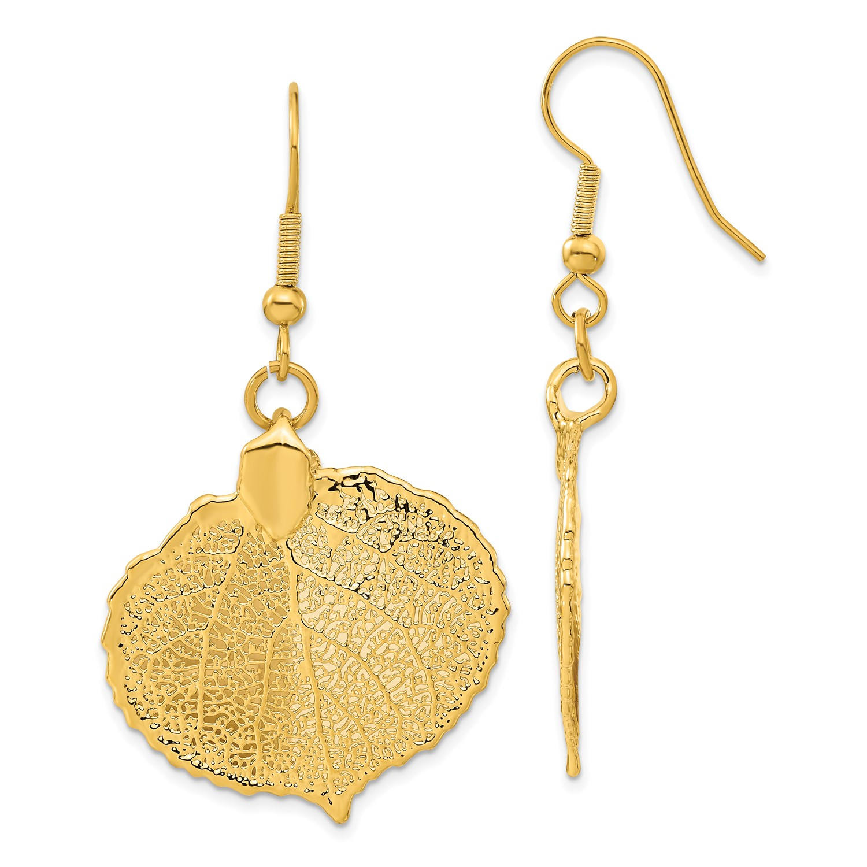 24k Gold Dipped Aspen Leaf Dangle Earrings 1 8in X 1in