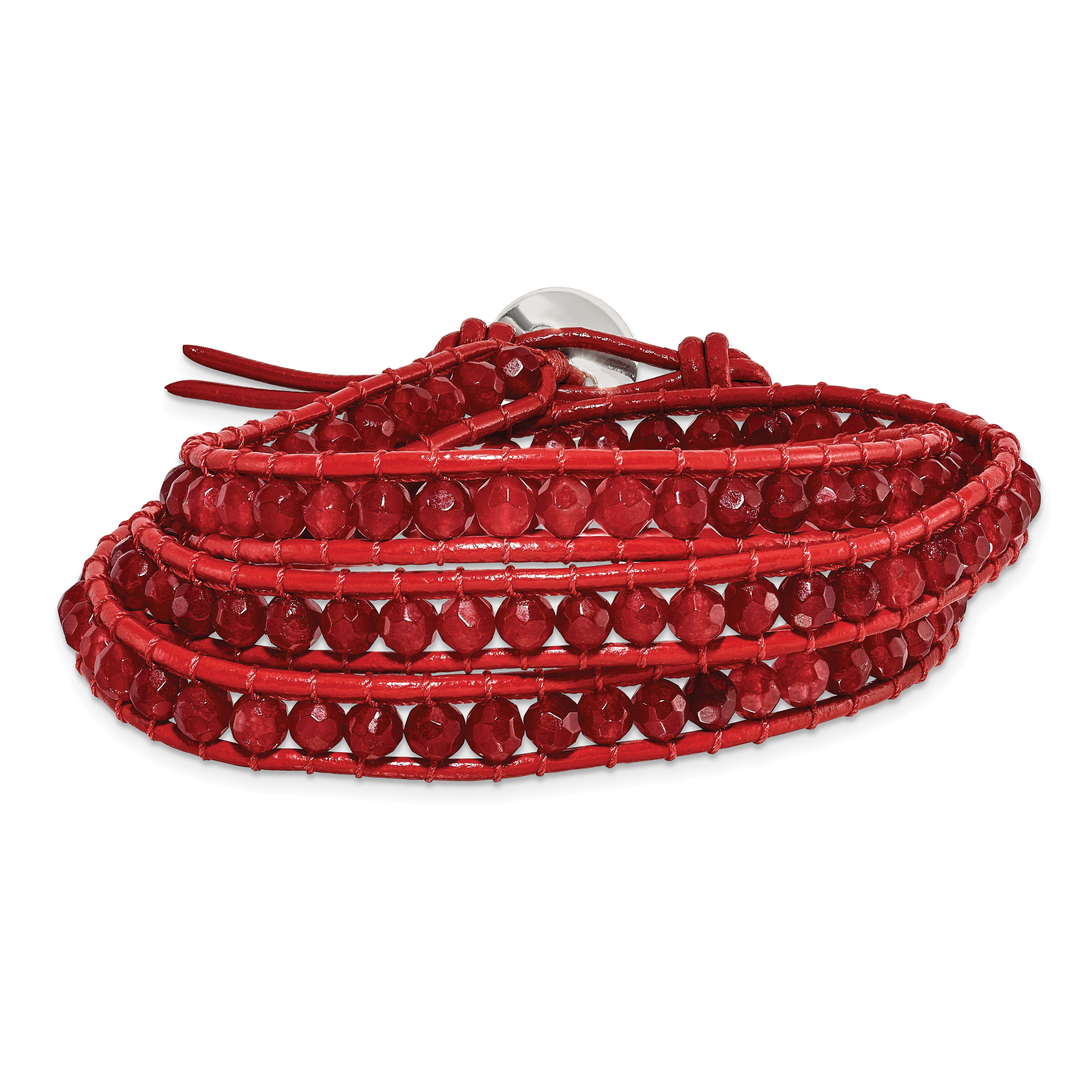 Red-Leather-Red-Quartz-Beaded-Multi-Wrap-Brass-Button-Bracelet-BF2093