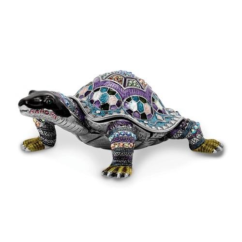 Bejeweled AMAZING AZURE Turtle Trinket Box