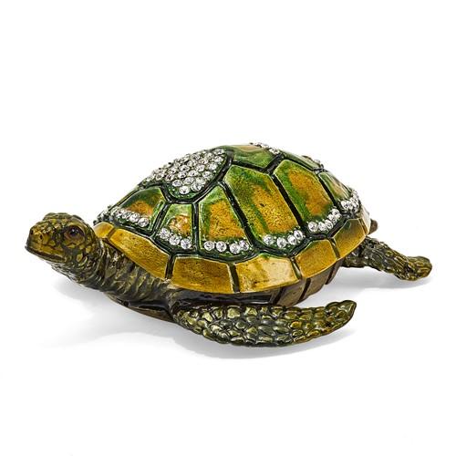 Bejeweled SWEETHEART Green Sea Turtle w/Heart Trinket Box