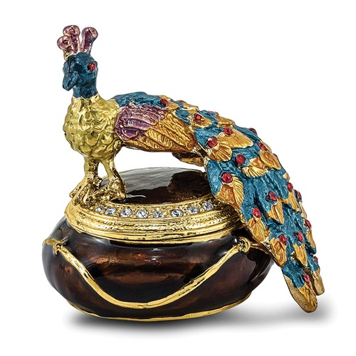 Bejeweled DIJON Peacock Box Trinket Box