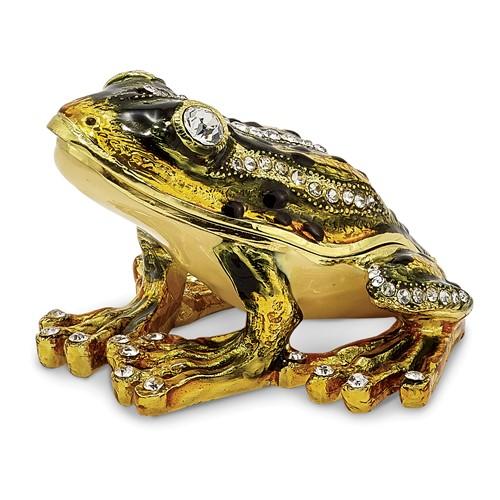 Bejeweled JUMPIN' FROG FLASH Green Frog Trinket Box