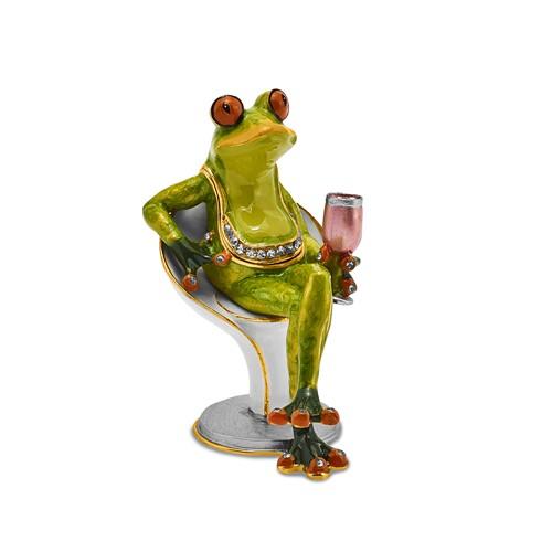 Bejeweled VIVACIOUS Vino Frog Trinket Box