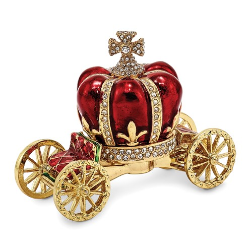 Bejeweled HER MAJESTY'S CROWN Carriage Trinket Box