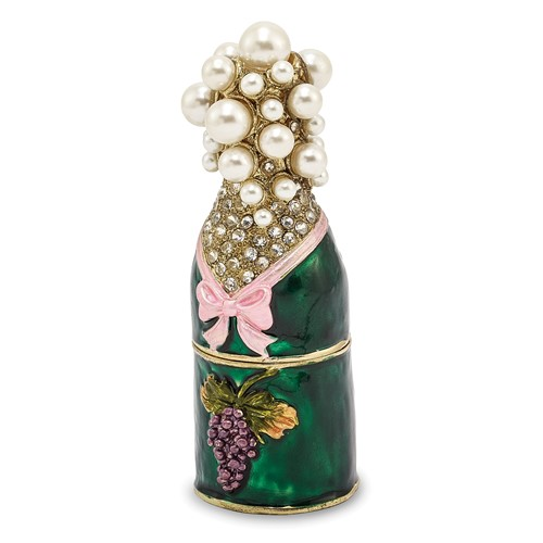 Bejeweled CELEBRATE Champagne Bottle Trinket Box