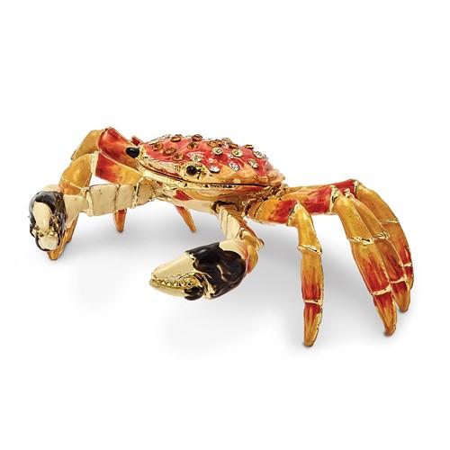 Bejeweled MOVABLE CRABULOUS Red Orange Crab Trinket Box