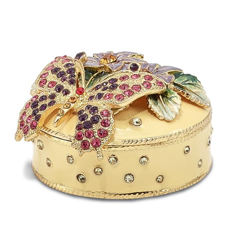 Bejeweled FLORIAN Butterfly & Floral Box Trinket Box