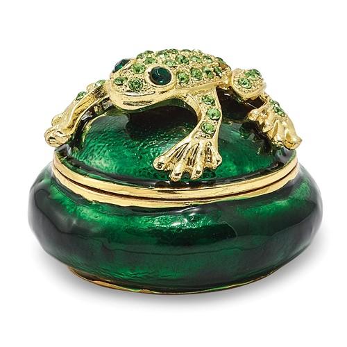 Bejeweled SPECKLES Frog Box Trinket Box