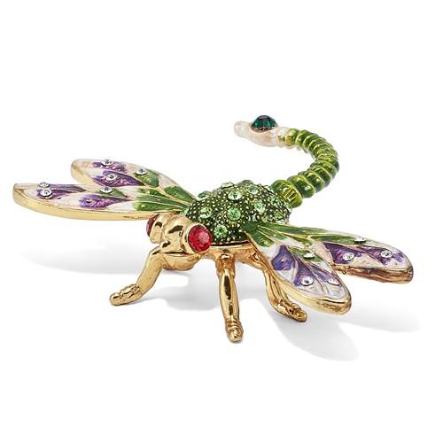 Bejeweled DEWEY Green Dragonfly Trinket Box