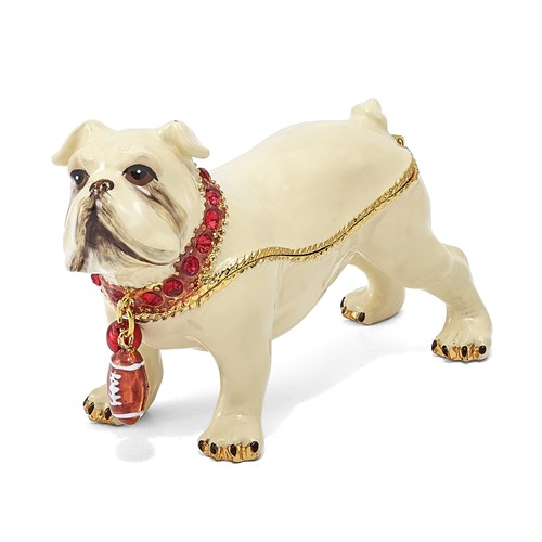 Bejeweled BUTCH Bulldog w/Football Trinket Box