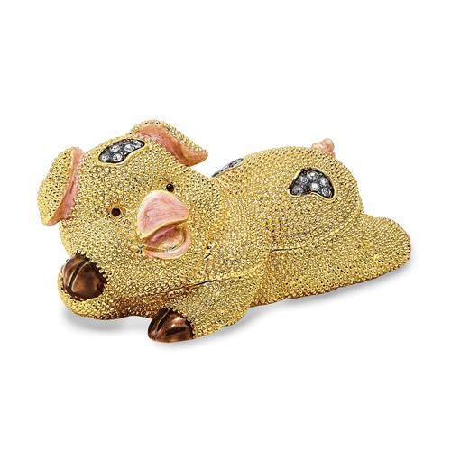 Bejeweled PANDY POSH Cute Golden Pig Trinket Box