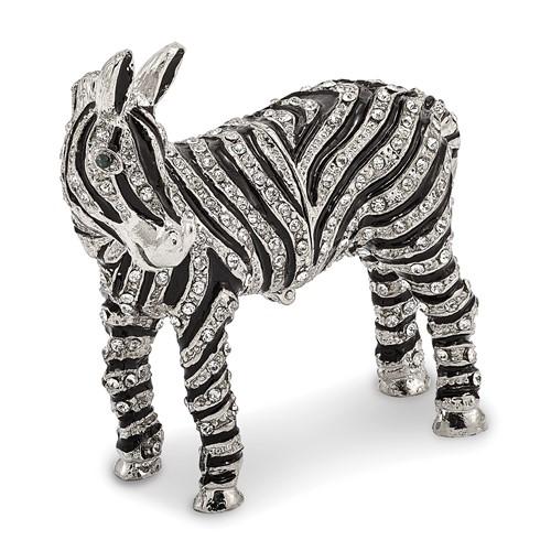 Bejeweled ZELDA Zebra Bling Full Crystal Trinket Box