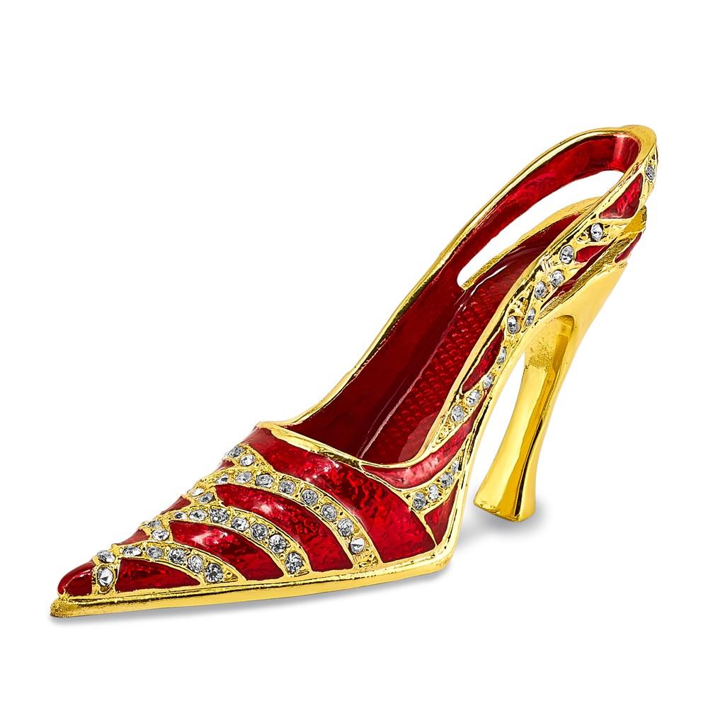 Bejeweled Crystal Enameled Red High Heel Card Holder