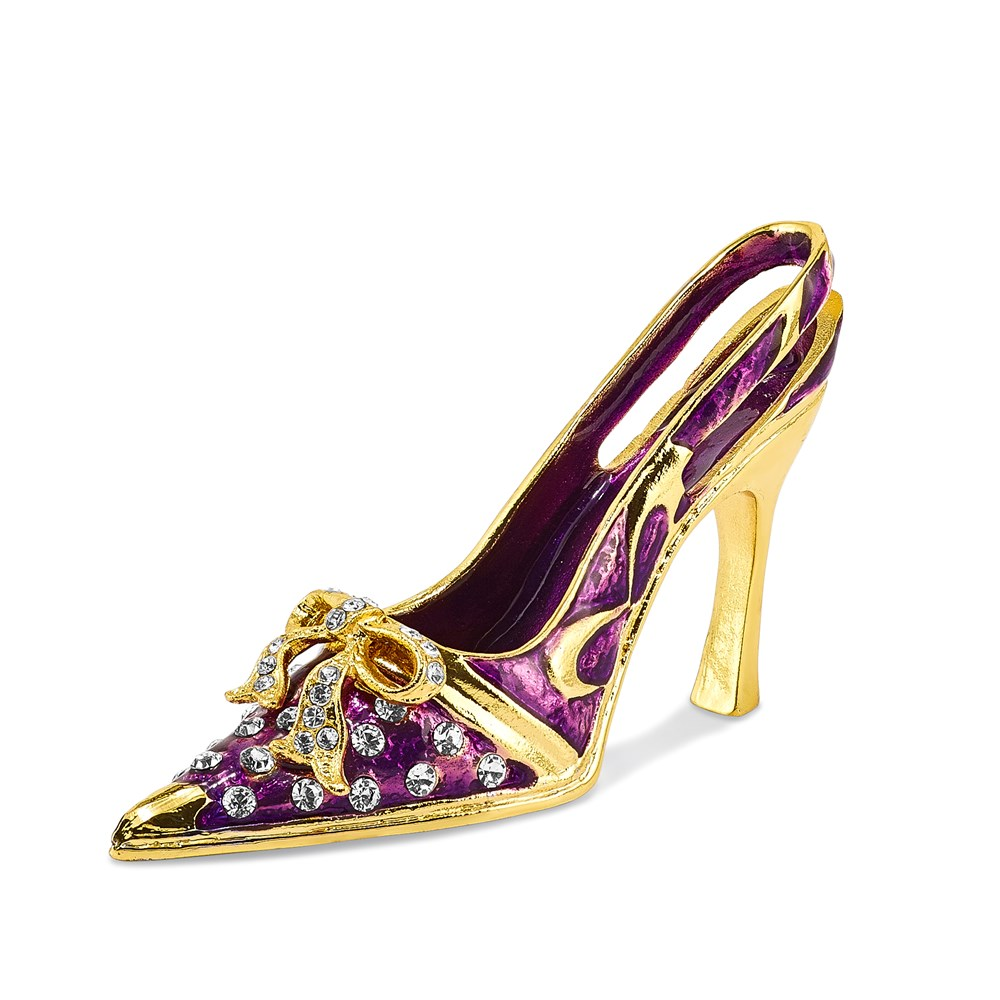 Bejeweled Crystal Enameled Purple High Heel Card Holder