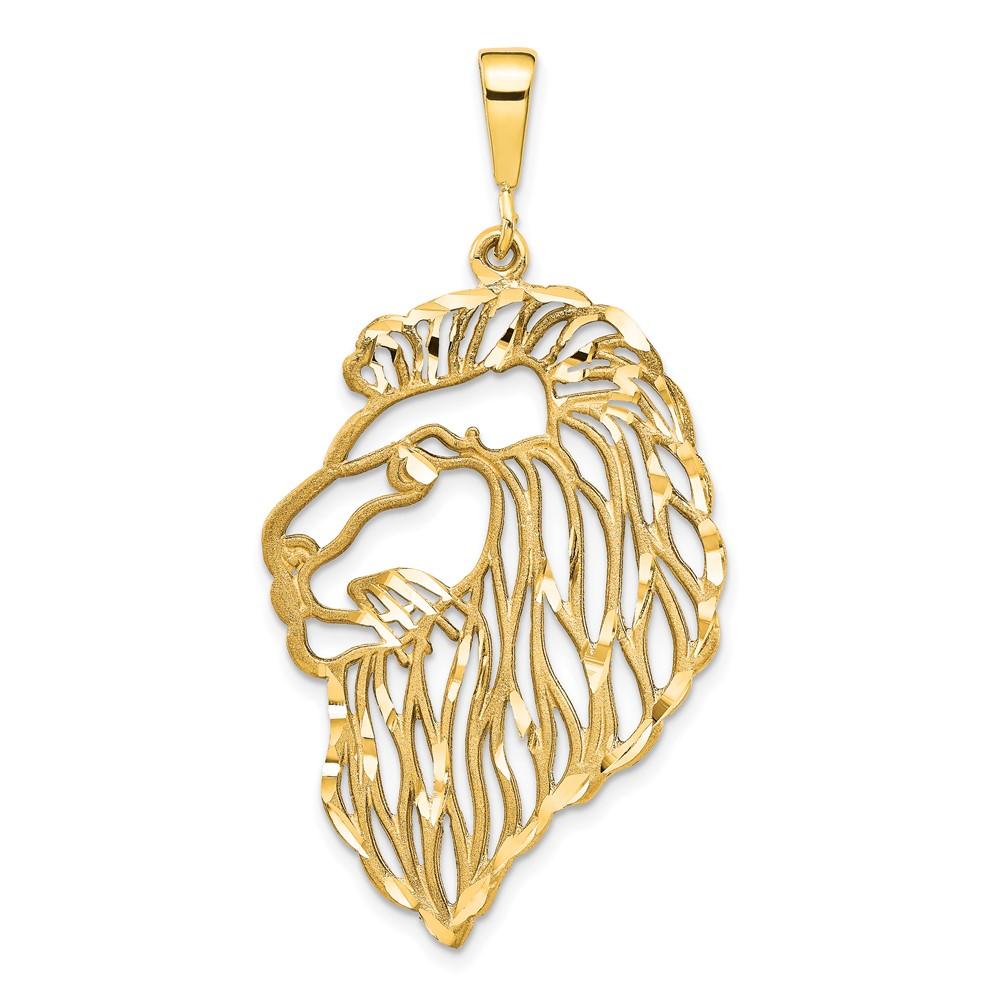14k Filigree Lions Head Pendant