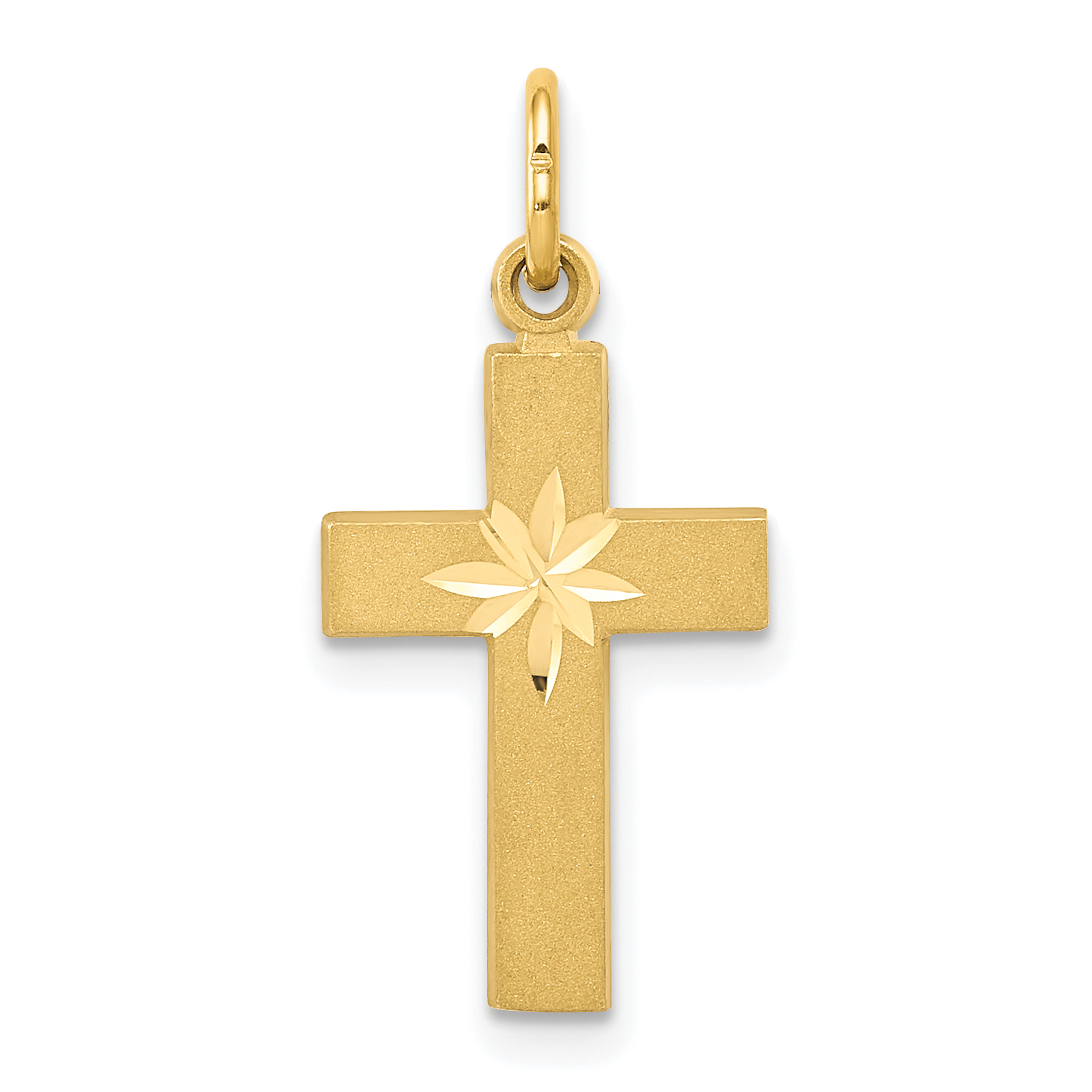 14k Small Diamond-cut Cross Pendant.