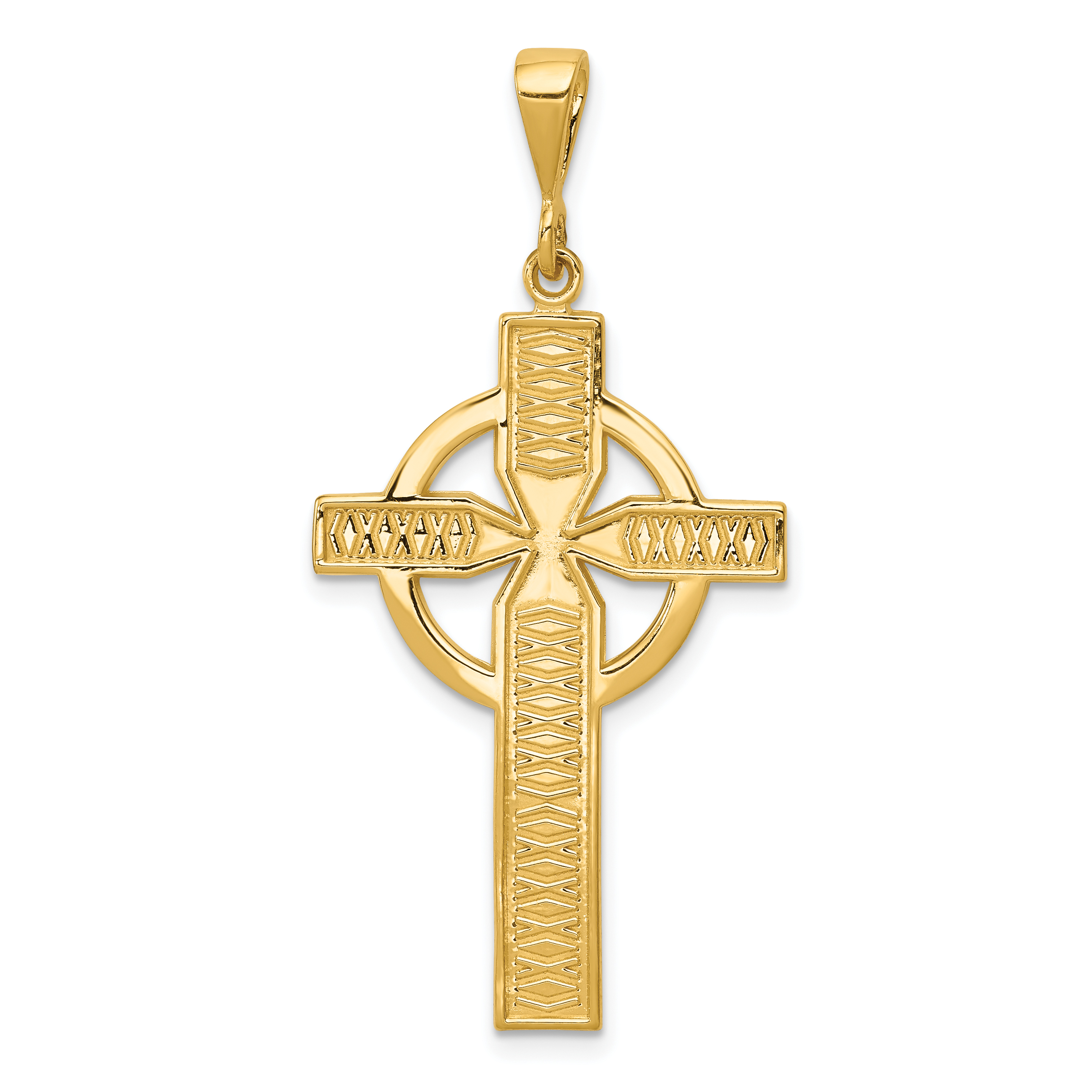 14k Celtic Cross Pendant. Weight: 2.22, Length: 46, Width: 21