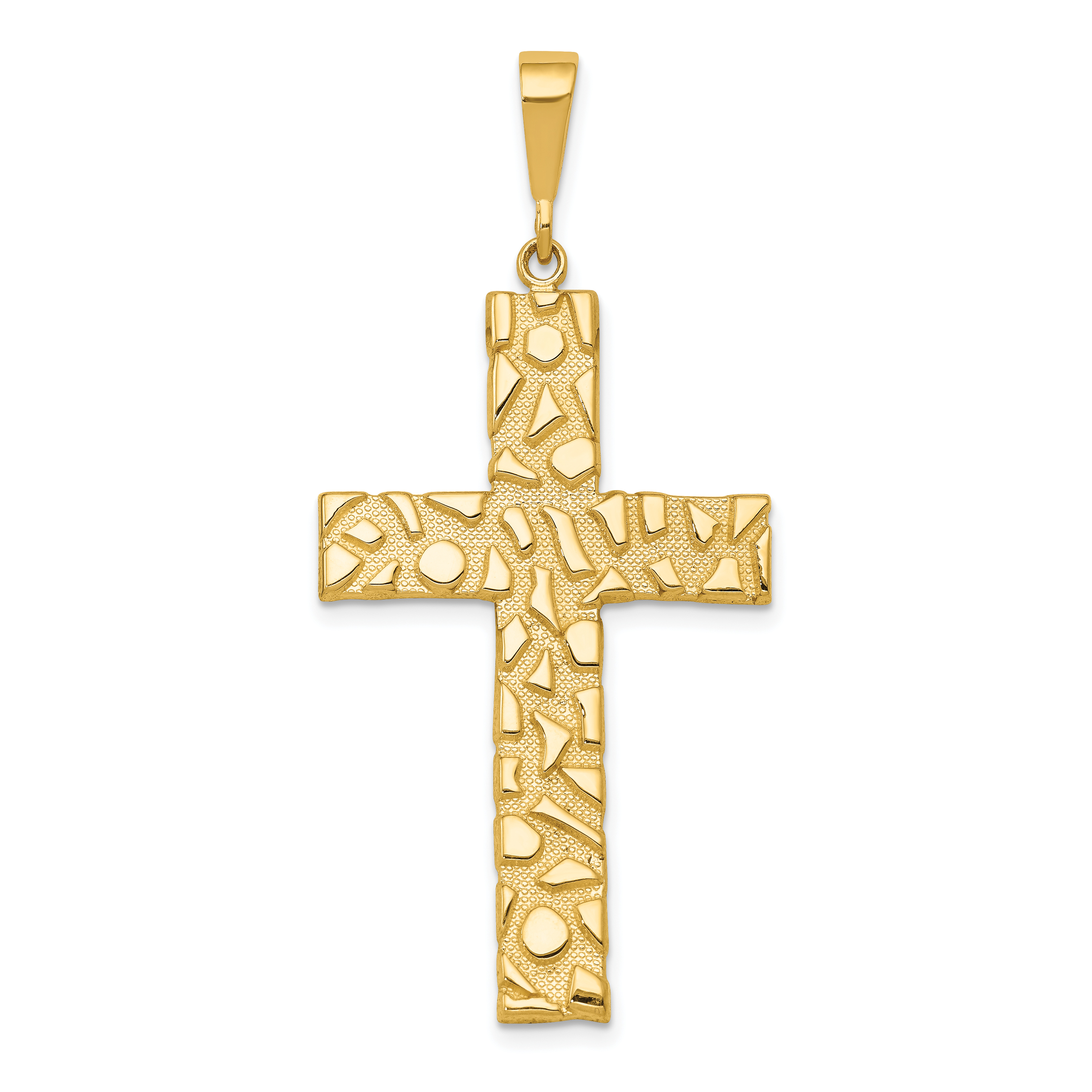 14k Nugget Style Cross Pendant. Weight: 4.25, Length: 50, Width: 23