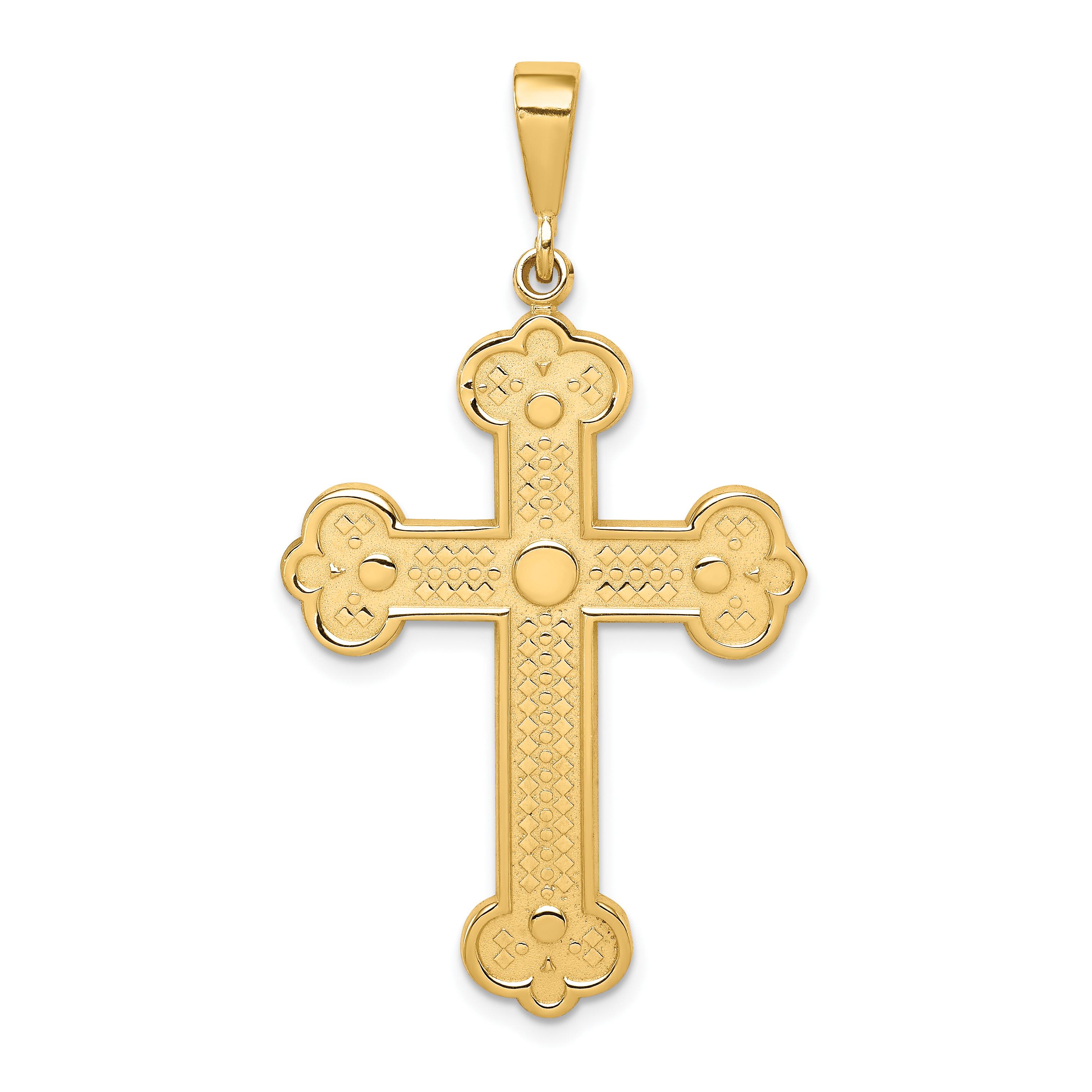 14k Budded Cross Pendant. Weight: 3, Length: 58, Width: 26