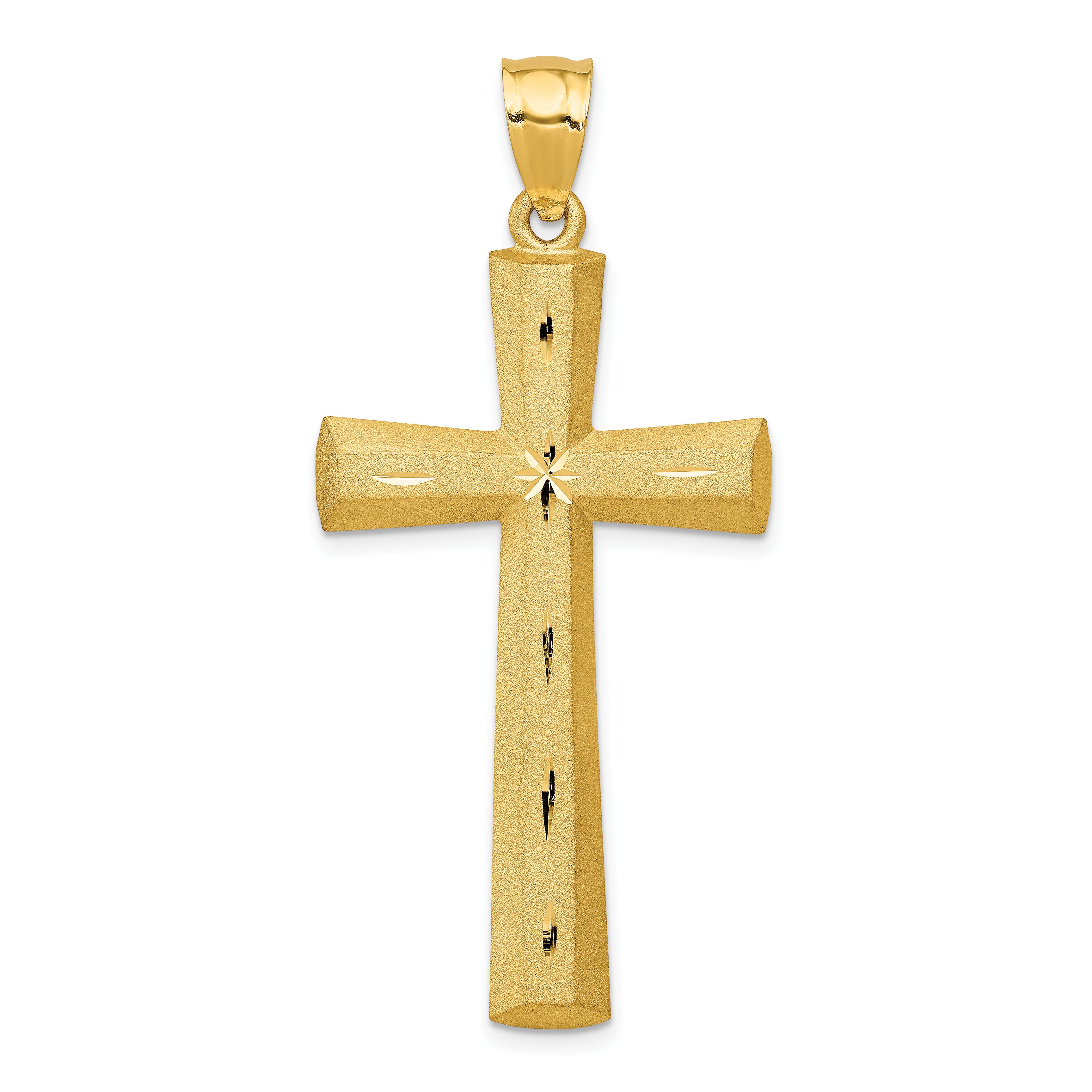 14k Satin & Diamond -cut Cross Pendant. Weight: 4.62, Length: 50, Width: 23