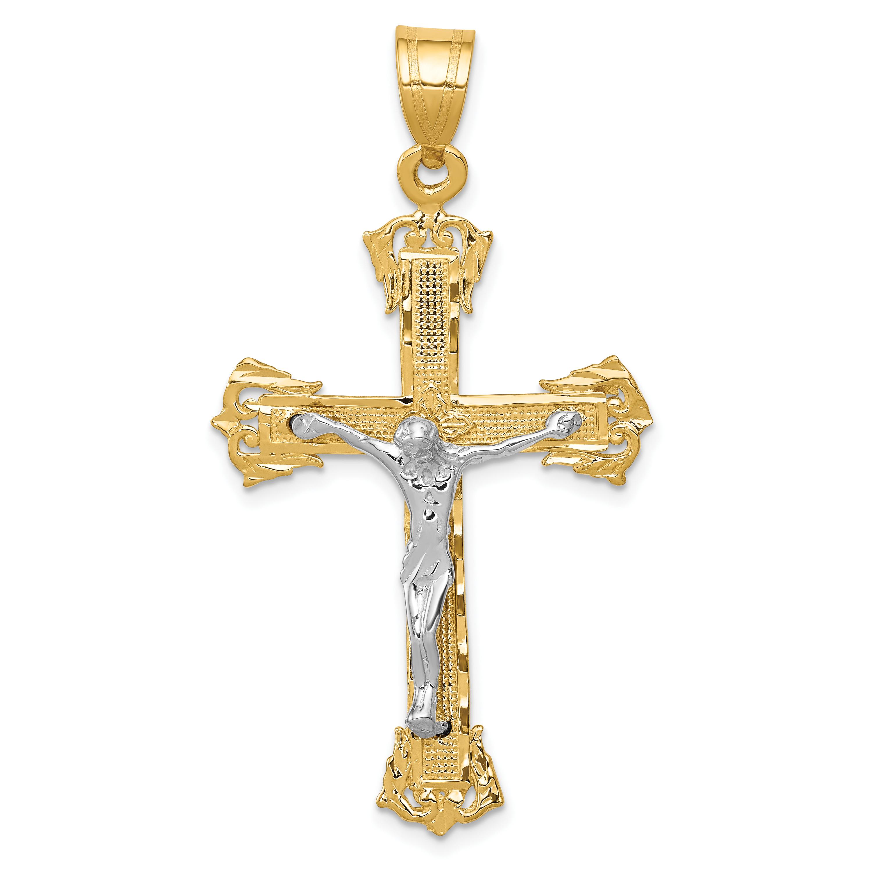 14k Two-tone Diamond-cut Crucifix Pendant. Weight: 3.01, Length: 50, Width: 28