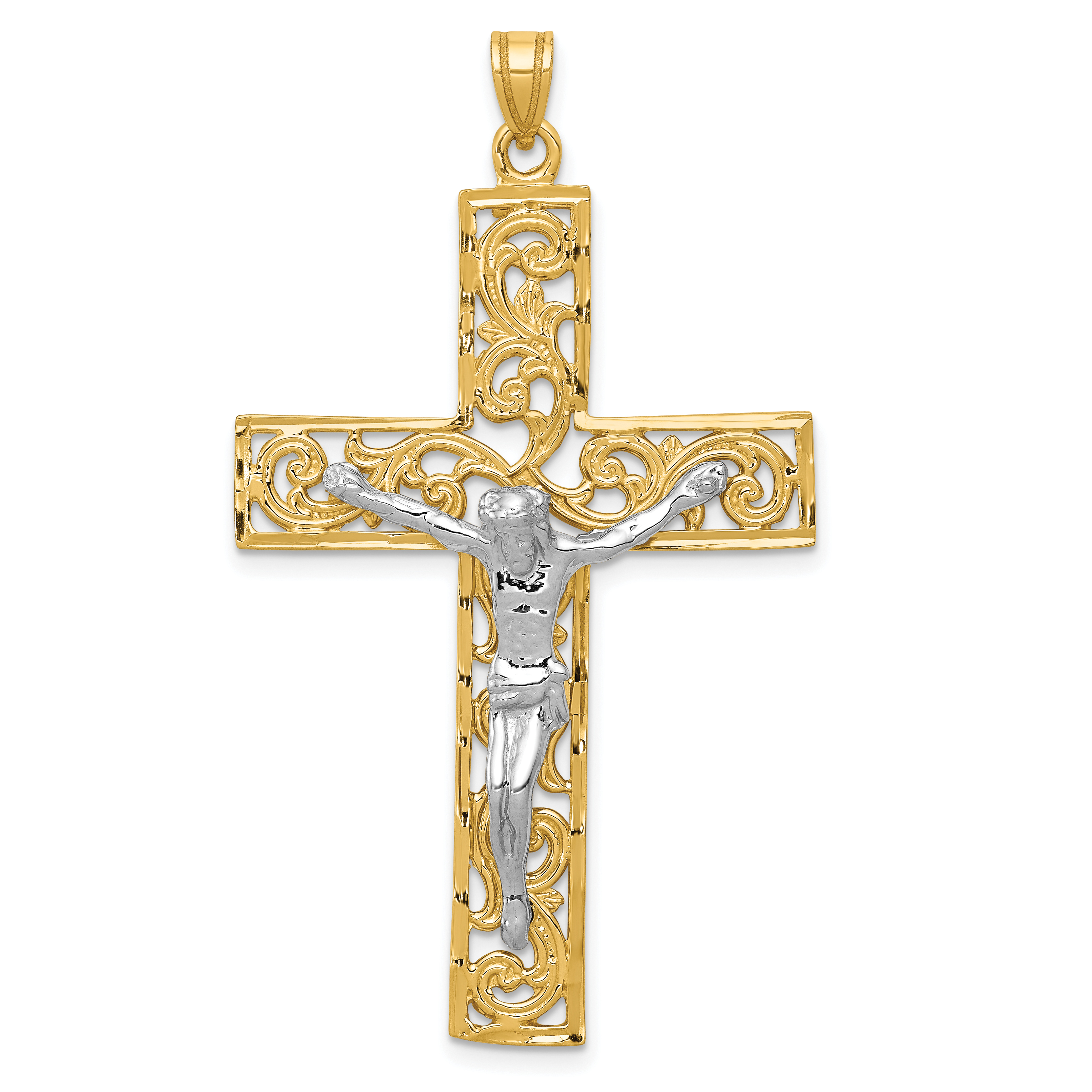 14k Two-tone Diamond-cut Crucifix Pendant. Weight: 4.15, Length: 56, Width: 30