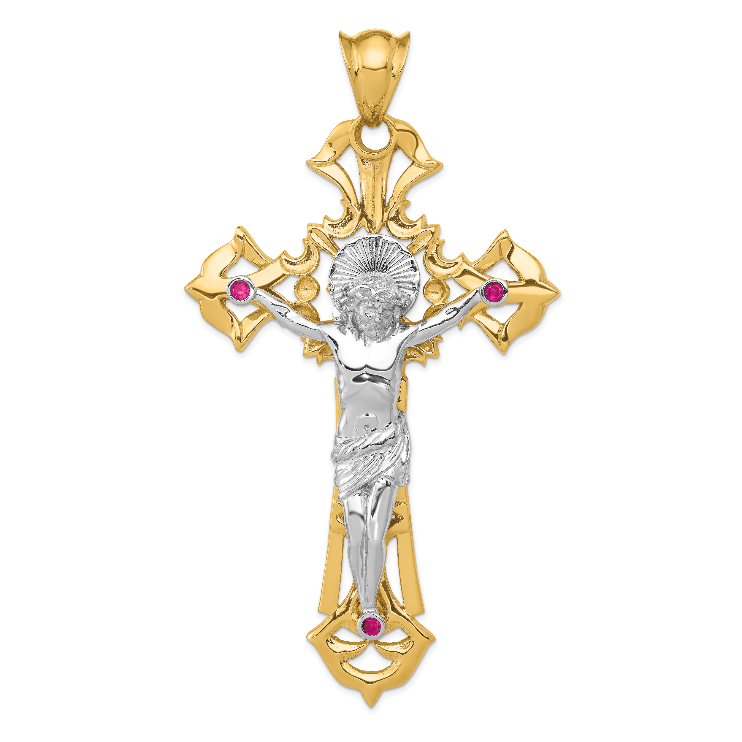 14k Two-tone Polished with Red CZs Crucifix Pendant. Weight: 34.42, Length: 107, Width: 60