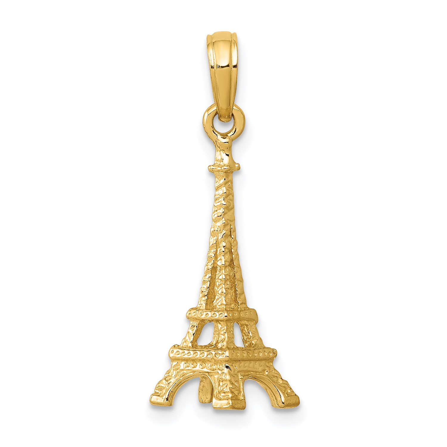 8e850585c 14k Yellow Gold Solid Polished 3 D Eiffel Tower Pendant