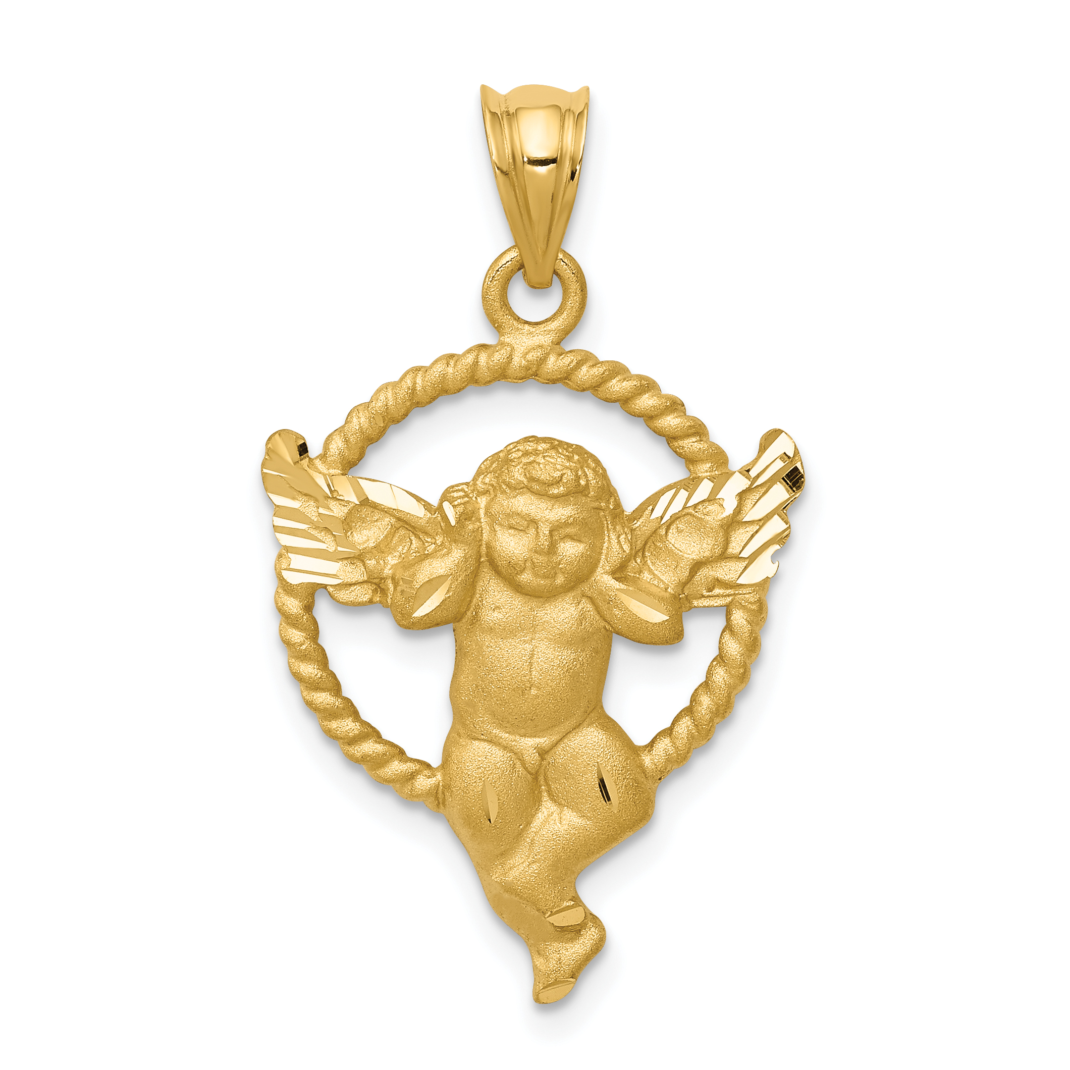 14k Satin Angel in Circle Pendant. Weight: 2.41, Length: 31, Width: 18