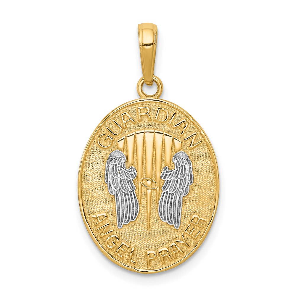 Guardian angel pendant jewelry pendants religious 14k two tone gold reversible prayer guardian angel oval charm pendant msrp 435 aloadofball Choice Image