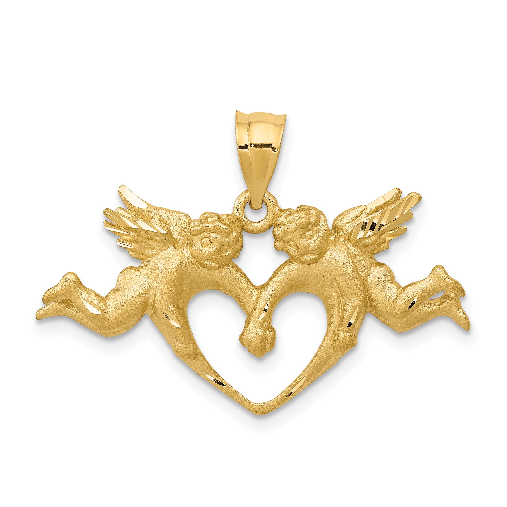 14k Satin Angels Heart Pendant. Weight: 3.27, Length: 22, Width: 30
