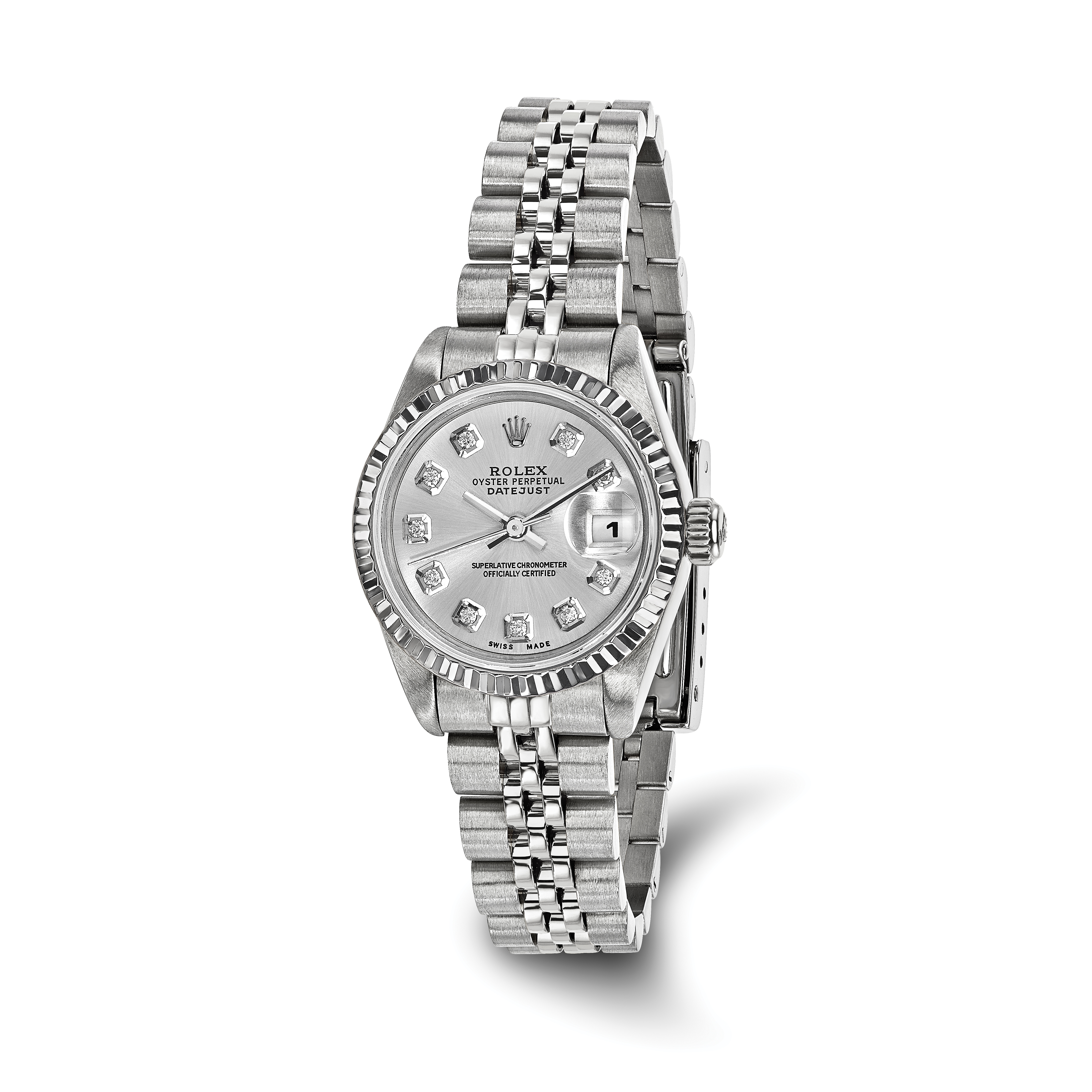 Pre-owned Rolex Steel/18kw Bezel, Ladies Diamond Silver Watch