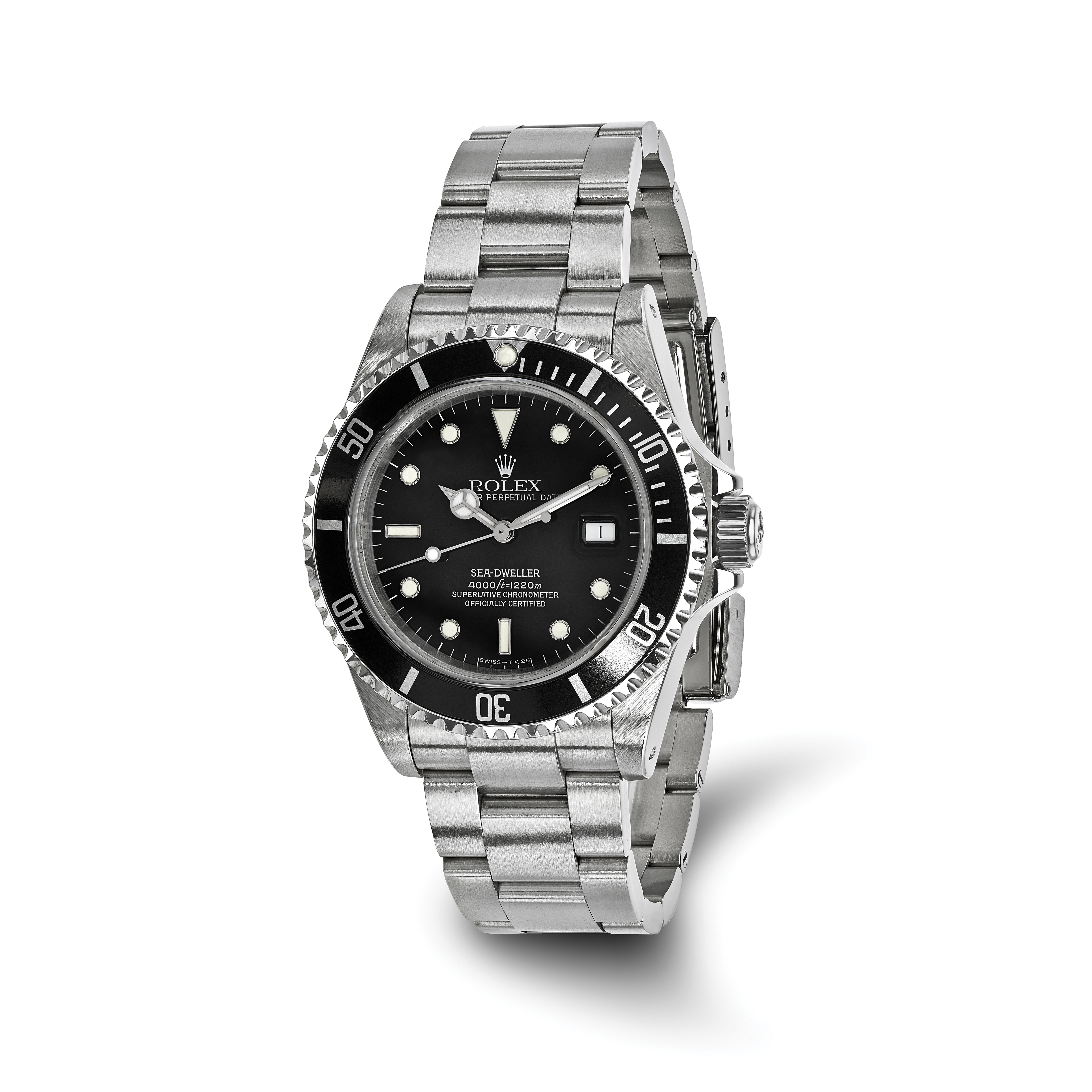 Pre-owned Rolex Stainless Steel Mens Sea Dweller Black Watch