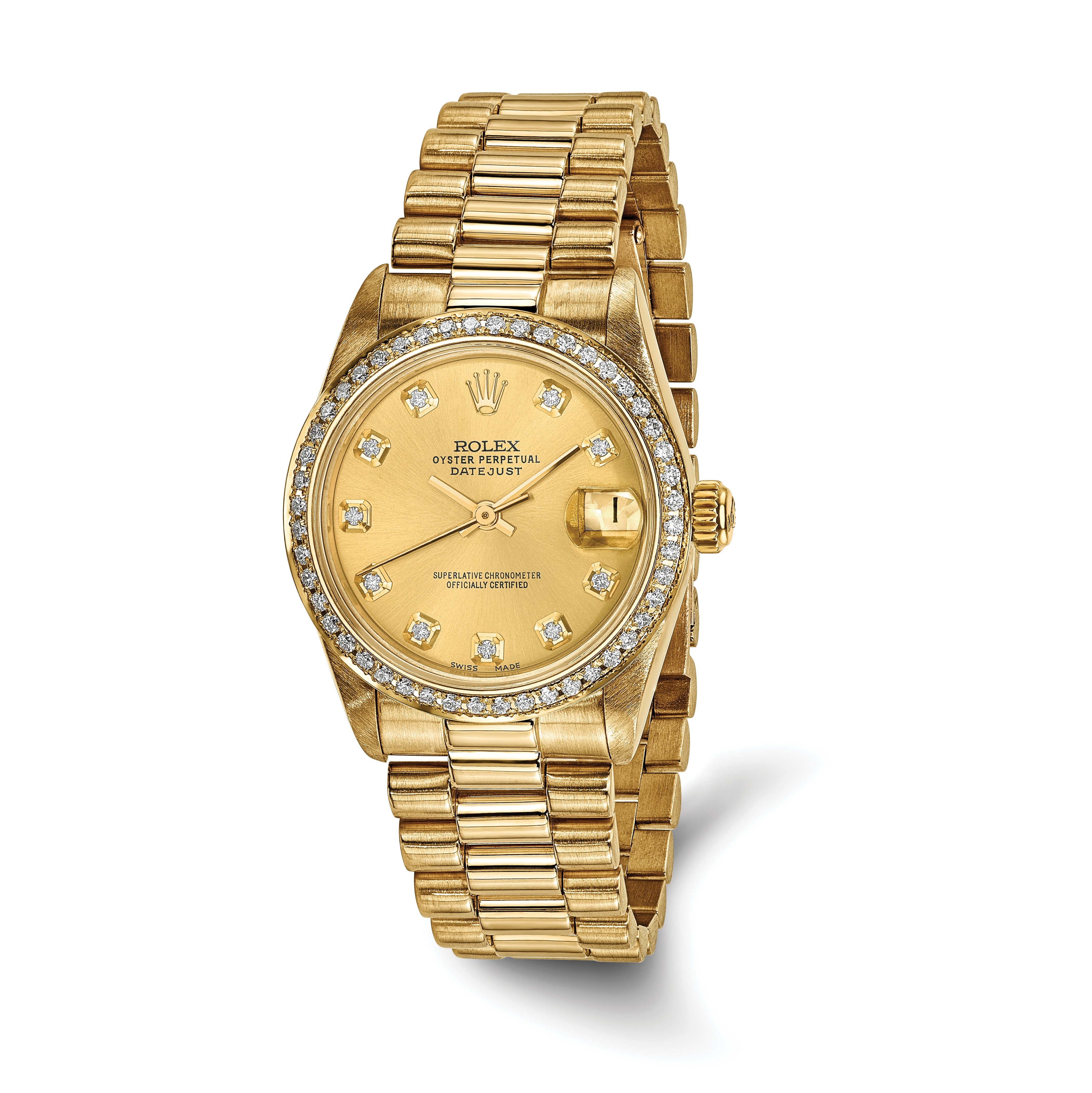 Pre-owned Rolex 18k Gold Midsize Datejust Diamond Presidential Watch