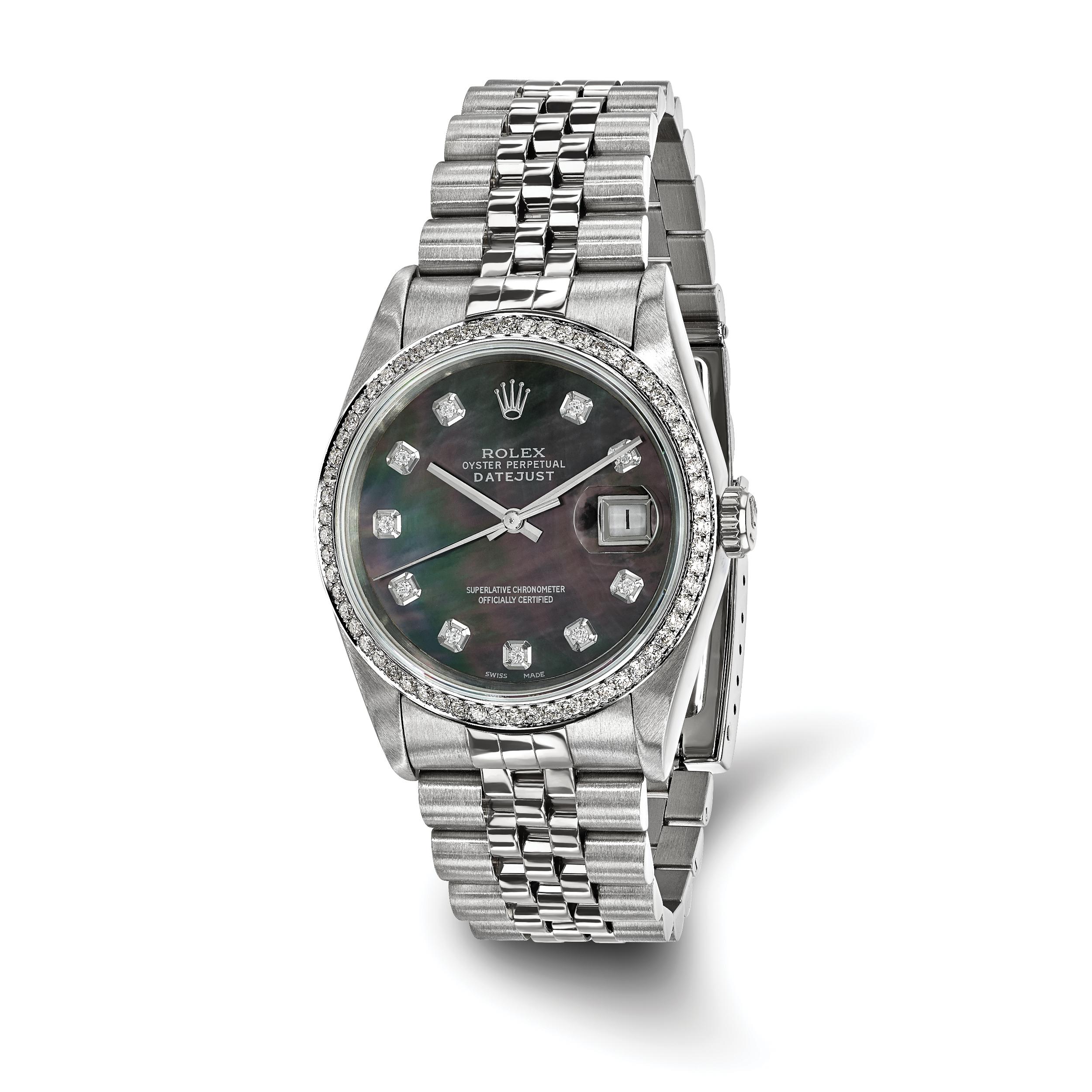 Pre-owned Rolex Steel/18kw Mens Diamond Datejust Watch