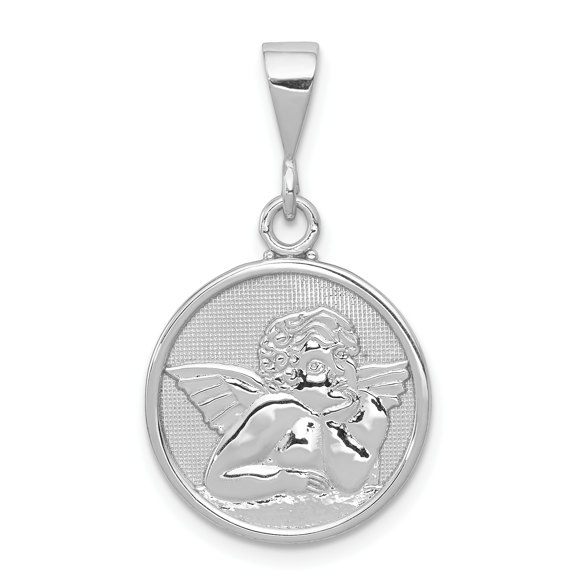 14k White Gold Polished & Satin Angel Pendant. Weight: 1.53, Length: 29, Width: 16