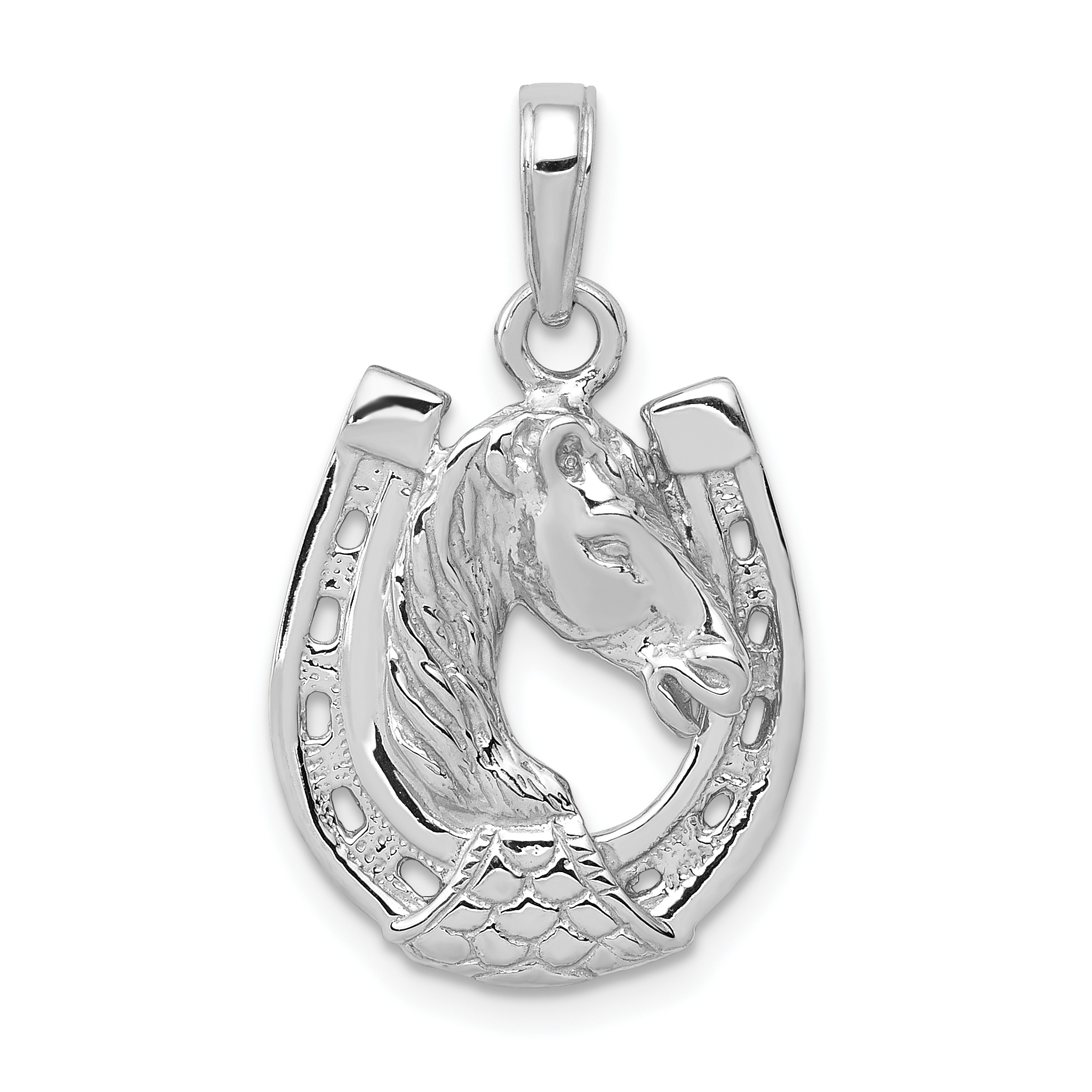 14k white gold horse head in horseshoe pendant aloadofball Gallery