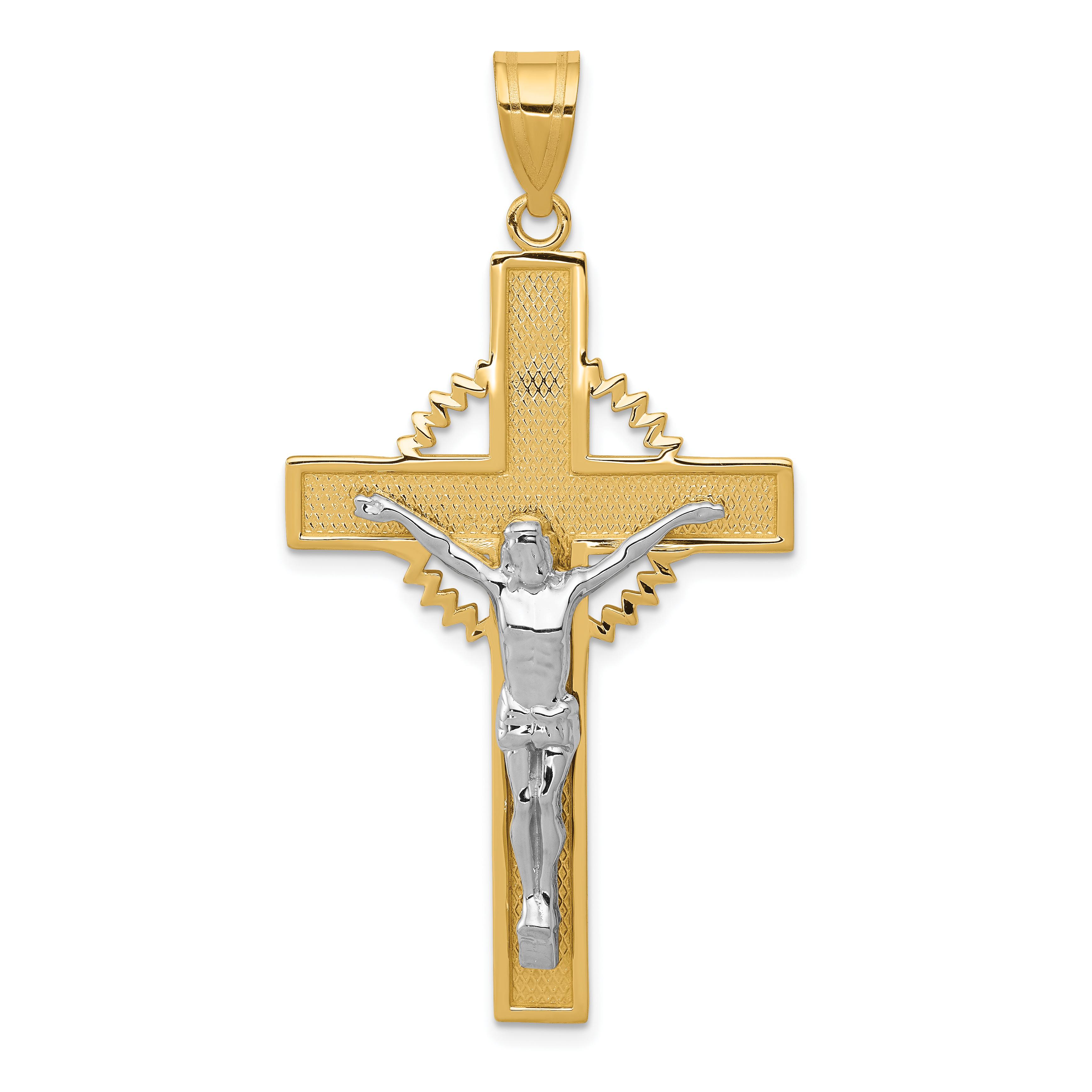 Two tone diamond cut crucifix pendant weight 402 length 55 14k two tone diamond cut crucifix pendant weight 402 length 55 width 28 audiocablefo