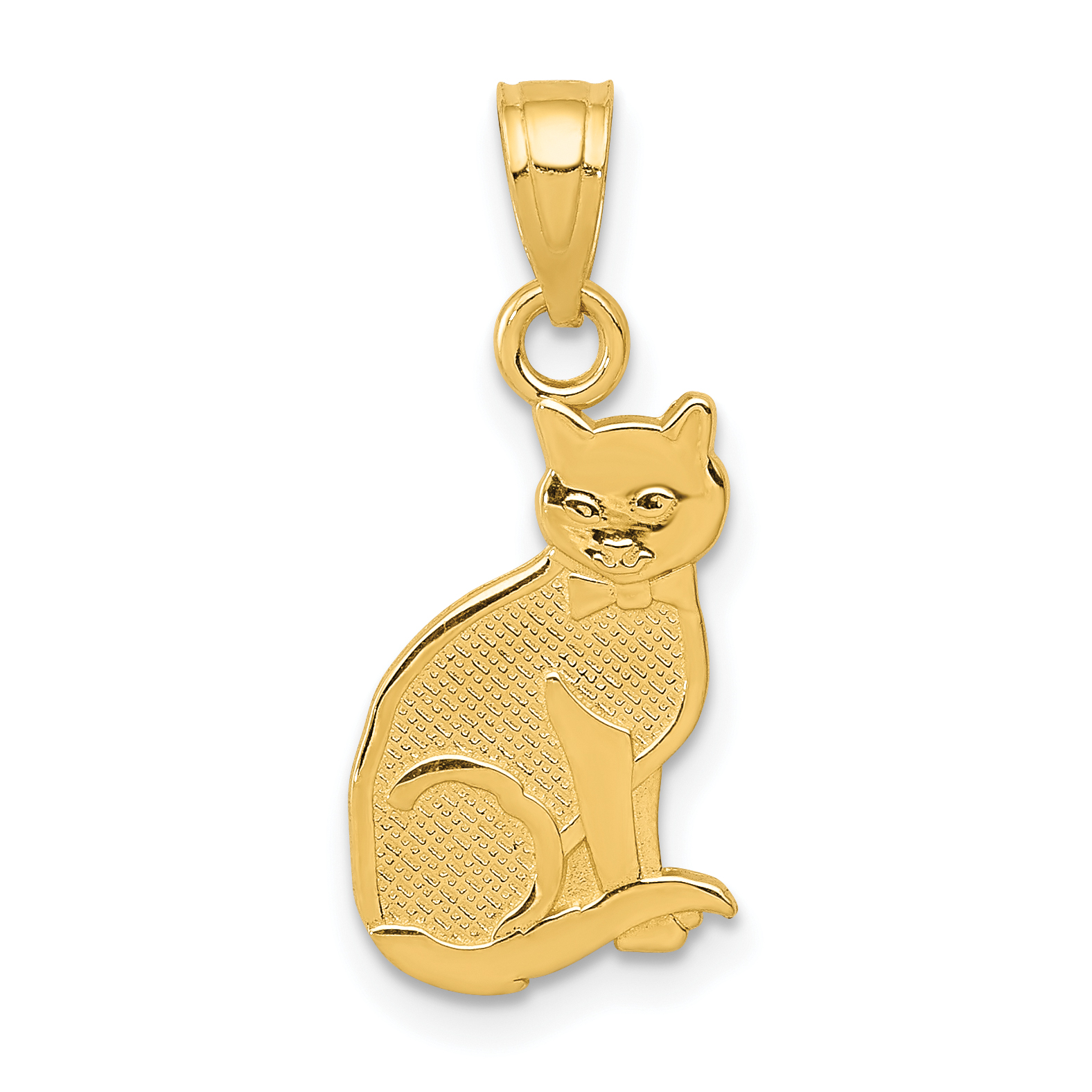 14k I Heart My Cat on Reverse Cat Pendant