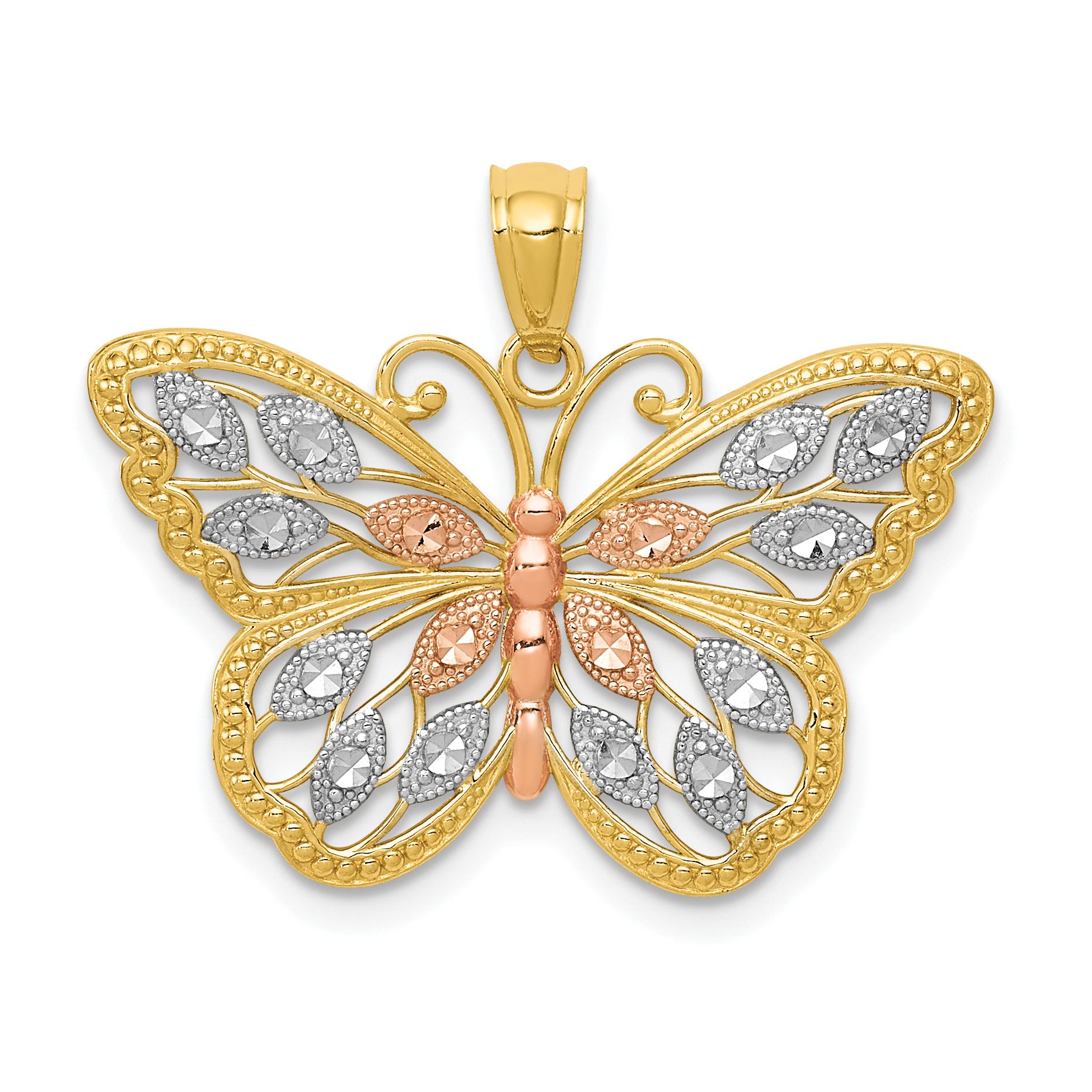 14k Yellow Gold White Rhodium Mini Cross Pendant Religious Charm Textured Sparkly Cuts