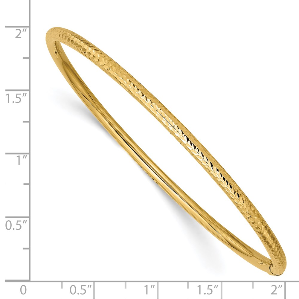 14k 14kt Yellow Gold Diamond Cut Tube Bracelet Bangle 8
