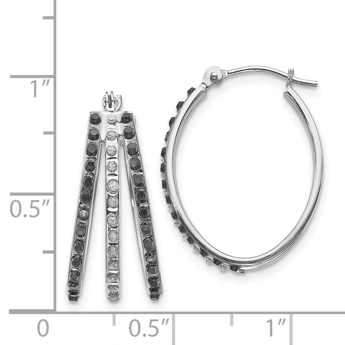 8018a64d8225 14 k oro blanco fascinación negro y blanco diamante pendientes de aro con  bisagras triples