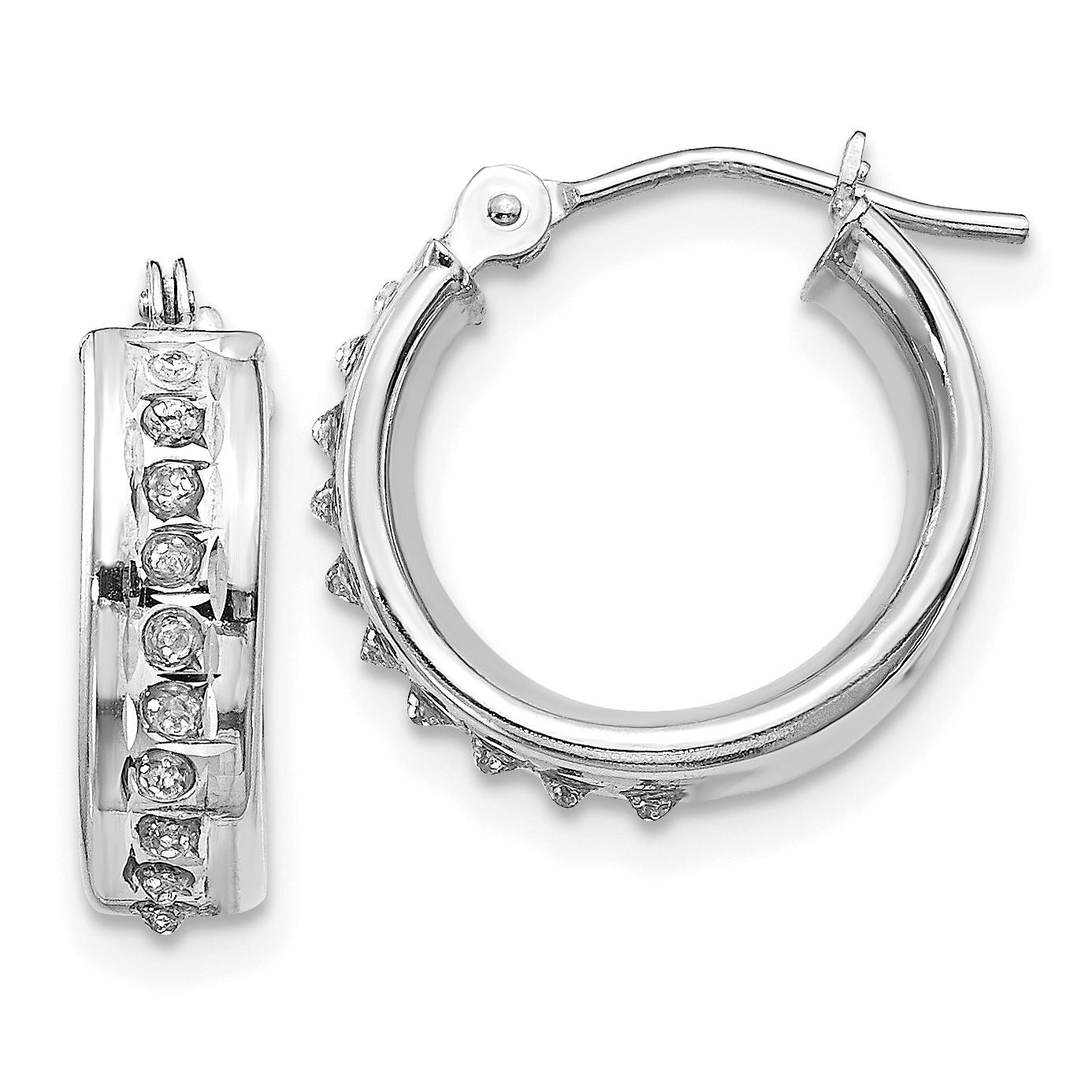 783babe23fd79 14k White Gold Diamond Fascination Round Hinged Hoop Earrings