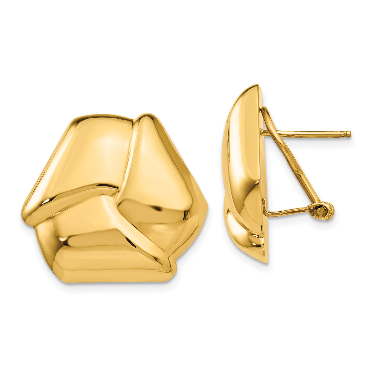be035c9b3 14k Yellow Gold Polished Knot Omega Back Post Earrings (1IN x 1IN ...