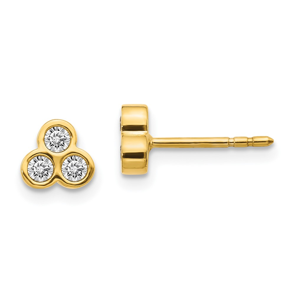 14k 14kt Yellow Diamond Earrings 6 mm X 7 mm